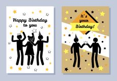 Happy Birthday to You, Two Color Festive Banners. Vector illustration with black silhouettes of celebreting people, birthday party, text on stripe Royalty Free Stock Photography