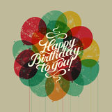 Happy Birthday to you! Typographical retro grunge Birthday Card. Vector illustration. Royalty Free Stock Images