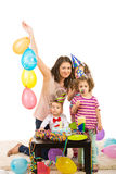 Happy birthday of toddler boy. With cake,balloons and soap bubbles Royalty Free Stock Photos