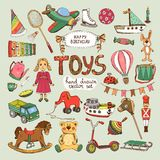 Happy birthday toys set Royalty Free Stock Images