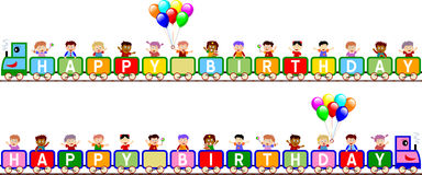 """Happy Birthday Train Banners. Kids on a train (boy and girl version), isolated on white background, for a funny """"Happy Birthday"""". Useful as a banner, page Royalty Free Stock Images"""