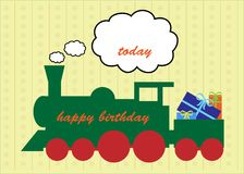Happy Birthday Train Greeting Card Stock Photo