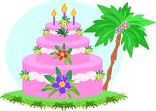 Happy Birthday Tropical Cake Stock Photography