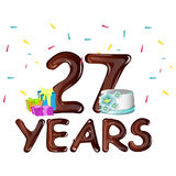Happy Birthday twenty seven year. Vector illustration Stock Images