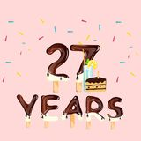 Happy birthday twenty seven years. Vector illustration Stock Illustration