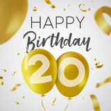 Happy birthday 20 twenty year gold balloon card. Happy Birthday 20 twenty years, luxury design with gold balloon number and golden confetti decoration. Ideal for Stock Illustration