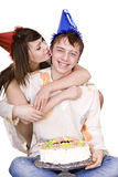 Happy birthday of two teen with cake. Royalty Free Stock Photography