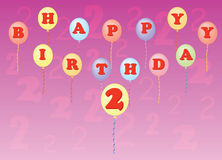 Happy birthday two years Royalty Free Stock Image