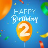 Happy birthday 2 two year balloon party card. Happy Birthday 2 two years fun design with balloon number and colorful confetti decoration. Ideal for party vector illustration