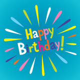 Happy Birthday type lettering design. With burst explosion Stock Images