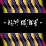 Happy birthday typographic curve stripes design background Stock Images