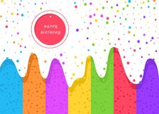 Happy Birthday typographic design for greeting cards. And posters with confetti and colorful ice cream, a design template for celebrating a birthday. Vector royalty free illustration