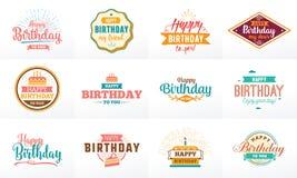 Happy Birthday typographic set. Vector design. Stock Image