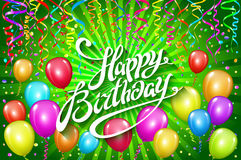 Happy Birthday typographic vector design for greeting cards, invitation. text, lettering composition. colorful balloon Vector  Stock Photo