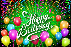 Happy Birthday typographic vector design for greeting cards, invitation. text, lettering composition. colorful balloon Vector Stock Images
