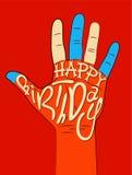 Happy Birthday! Typographical retro Birthday Card. Vector illustration. Stock Images