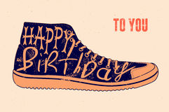 Happy Birthday! Typographical retro grunge Birthday Card. Vector illustration. Royalty Free Stock Photography