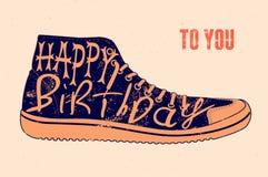 Happy Birthday! Typographical retro grunge Birthday Card. Vector illustration. Happy Birthday! Typographical retro grunge Birthday Card Royalty Free Stock Photography