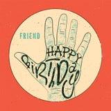 Happy Birthday! Typographical retro grunge Birthday Card. Vector illustration. Stock Photo