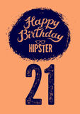 Happy Birthday! Typographical retro grunge Birthday Card. Vector illustration. Stock Photography