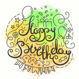 Happy Birthday Typography Design. Letering card with Birthday Party Elements in line art style. Royalty Free Stock Image