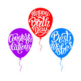 Happy Birthday typography lettering set. Happy Birthday, congratulations, best wishes. Hand lettering typography templates with air balloon silhouettes  on white Stock Photo