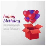 Happy Birthday typography vector design for greeting cards and p. Oster with balloon and Gift Box. Design template for birthday celebration. White and Grey stock illustration