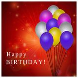 Happy Birthday typography vector design for greeting cards and p. Oster with balloon. Design template for birthday celebration. Red Background. For web design vector illustration
