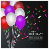 Happy Birthday typography vector design for greeting cards and p. Oster with balloon and Confetti. Design template for birthday celebration. Black Background stock illustration
