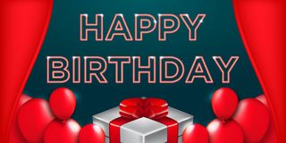 Happy Birthday typography vector design for greeting cards and poster with balloon and gift box.  royalty free illustration