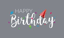 Happy Birthday typography vector design template poster. Greeting card confetti banner for birthday.  royalty free illustration