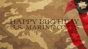 Happy Birthday US Marine Corps. Flag and Camouflage Background Royalty Free Stock Photo