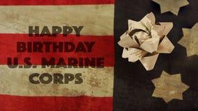 Happy Birthday US Marine Corps Flag and Ribbon. Happy Birthday US Marine Corps Flag and Camouflage Ribbon Royalty Free Stock Image