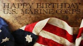 Happy Birthday US Marine Corps Wood. Happy Birthday US Marine Corps Flag and Wood Stock Photo