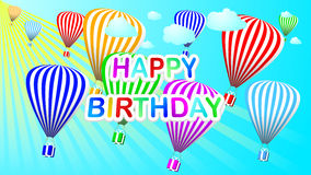 Happy birthday vector background with colorful balloons and gift boxes. Stock Photography