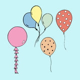 Happy Birthday vector balloons, party illustrations Royalty Free Stock Image