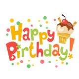 Happy birthday vector banner with cute ice cream. And lettering Royalty Free Stock Image