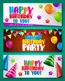 Happy birthday vector banner designs set with colorful elements. Like balloons and birthday hats for birthday party or invitations. Vector illustration Stock Photography