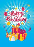 Happy Birthday vector card. Simple editing Happy Birthday vector card on the blue background Royalty Free Stock Image