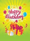 Happy Birthday vector card. Simple editing Happy Birthday vector card on the green background Stock Image