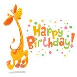 Happy birthday vector card. Baby birthday card with cute giraffe Stock Image