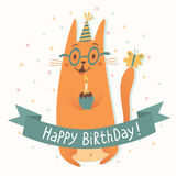 Happy Birthday vector card with a cat Royalty Free Stock Images
