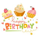 Happy birthday vector card. With cute cakes Royalty Free Stock Photo
