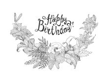 Happy Birthday! Vector card with flowers Royalty Free Stock Photography