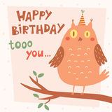 Happy Birthday vector card with owl Stock Photography