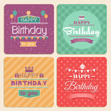 Happy Birthday vector card set in retro design Stock Photo