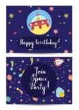 Happy Birthday Vector Cartoon Greeting Card Stock Photo