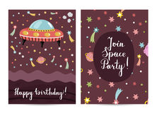 Happy Birthday Vector Cartoon Greeting Card Stock Photography