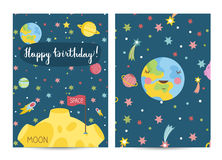 Happy Birthday Vector Cartoon Greeting Card. Happy birthday cartoon greeting card on space theme. Sleeping Earth with smile surrounded by stars and planets, Moon Stock Photography