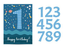 Happy Birthday Vector Cartoon Greeting Card Royalty Free Stock Photo